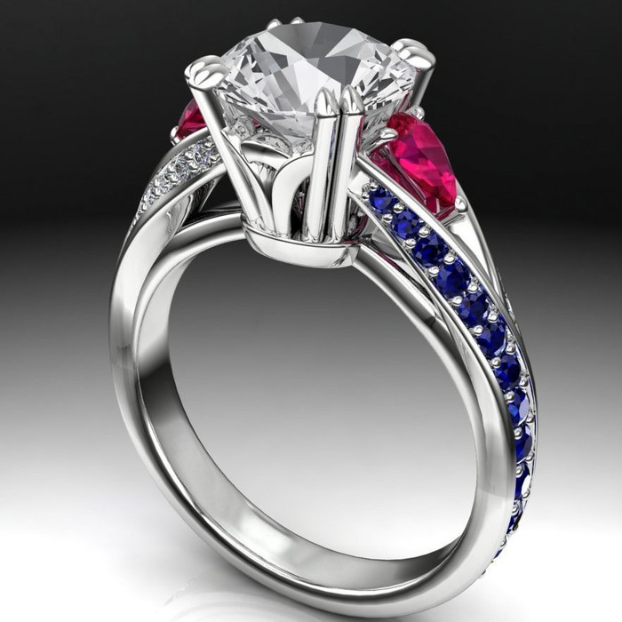 Pear Curve Engagement Ring   Round 2ct Diamond + Sapphire & Ruby