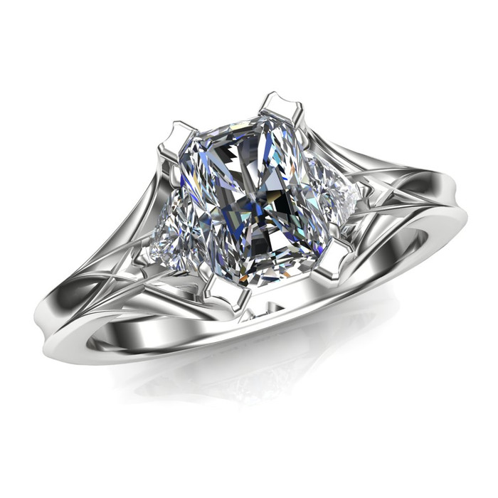 3 stone engagement ring emerald cut diamond