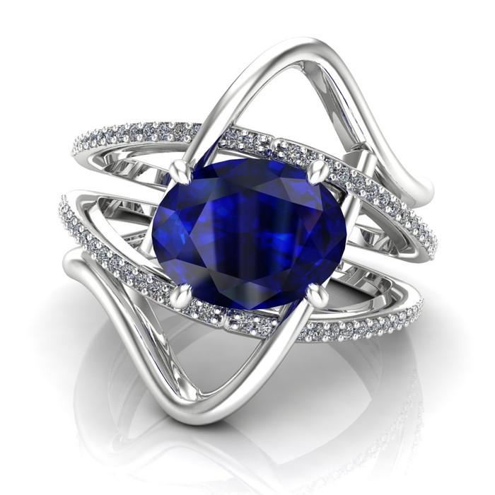 Oval Crisscross Sapphire Engagement Ring