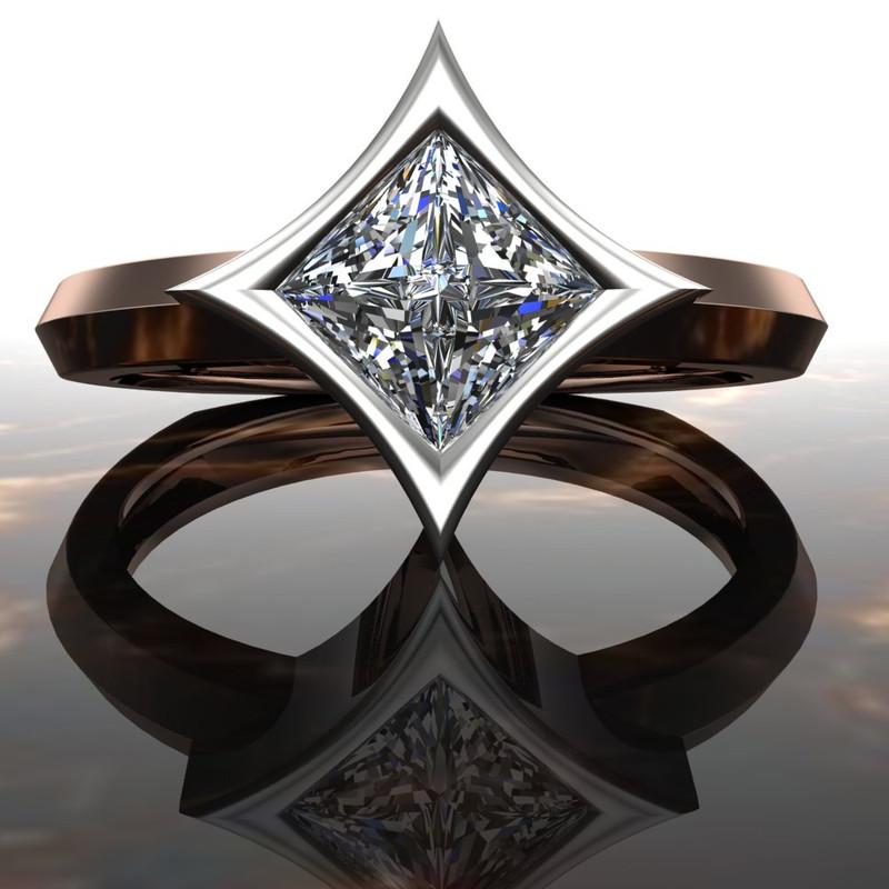 Diamond Engagement Ring Dramatic Star Bezel Setting