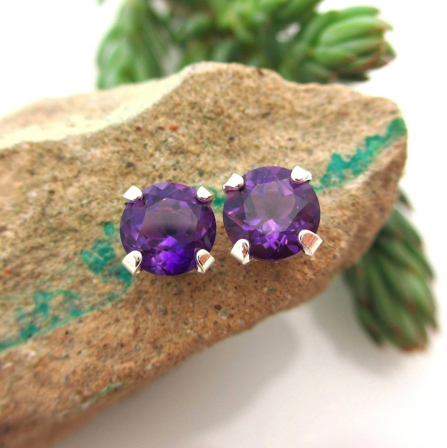 Amethyst stud earrings, dark purple