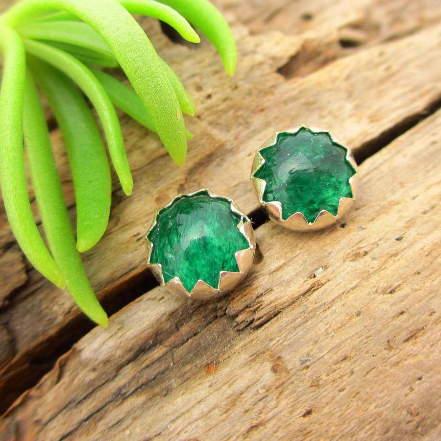 Green aventurine cabochon stud earrings