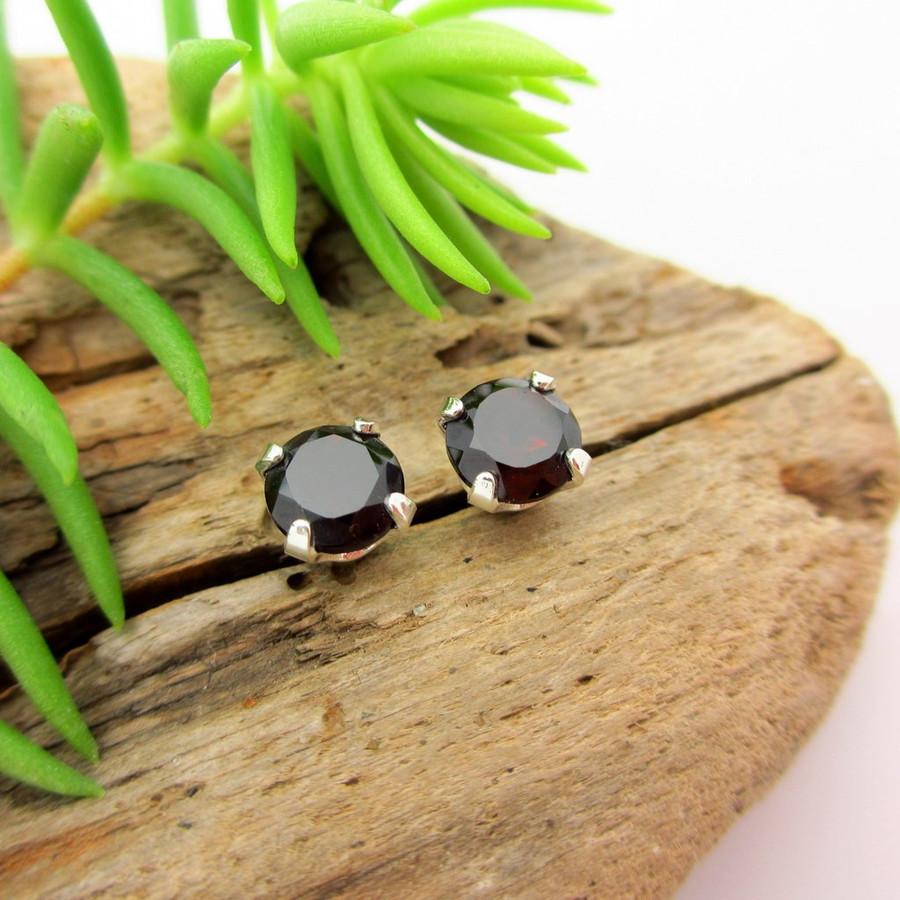 Black garnet stud earrings
