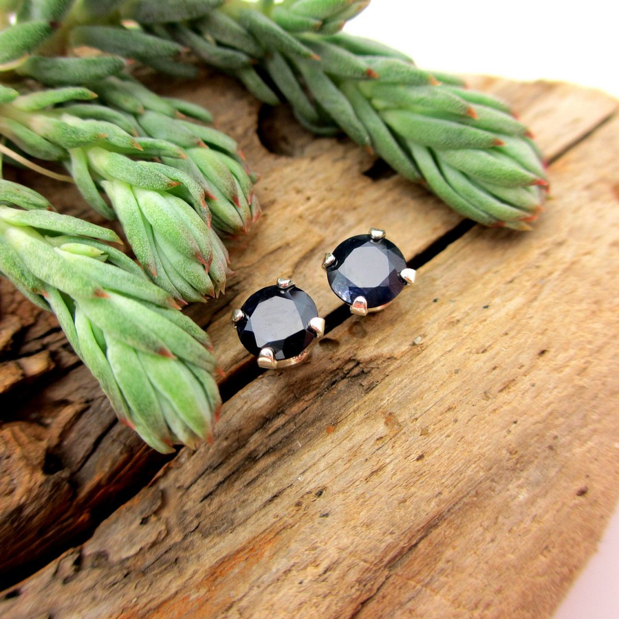 Black sapphire stud earrings