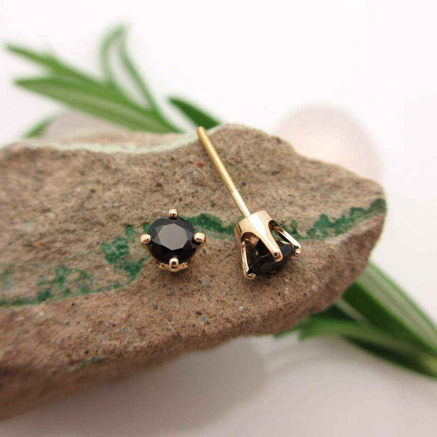 Black Spinel Stud Earrings screw back