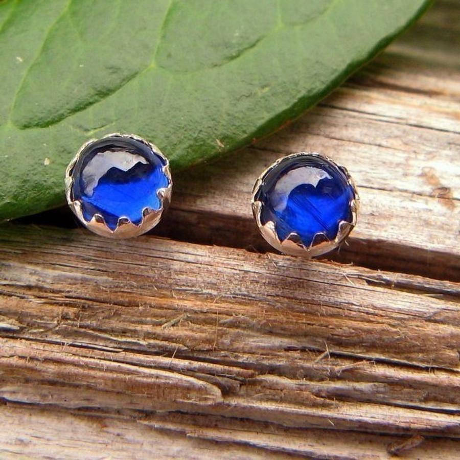 Blue Kyanite Cabochon Stud Earrings