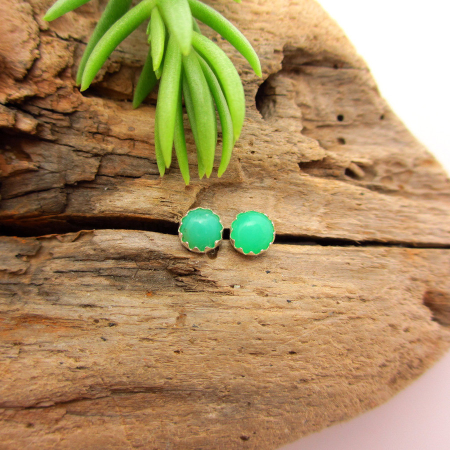 Chrysoprase Cabochon Stud Earrings, C grade