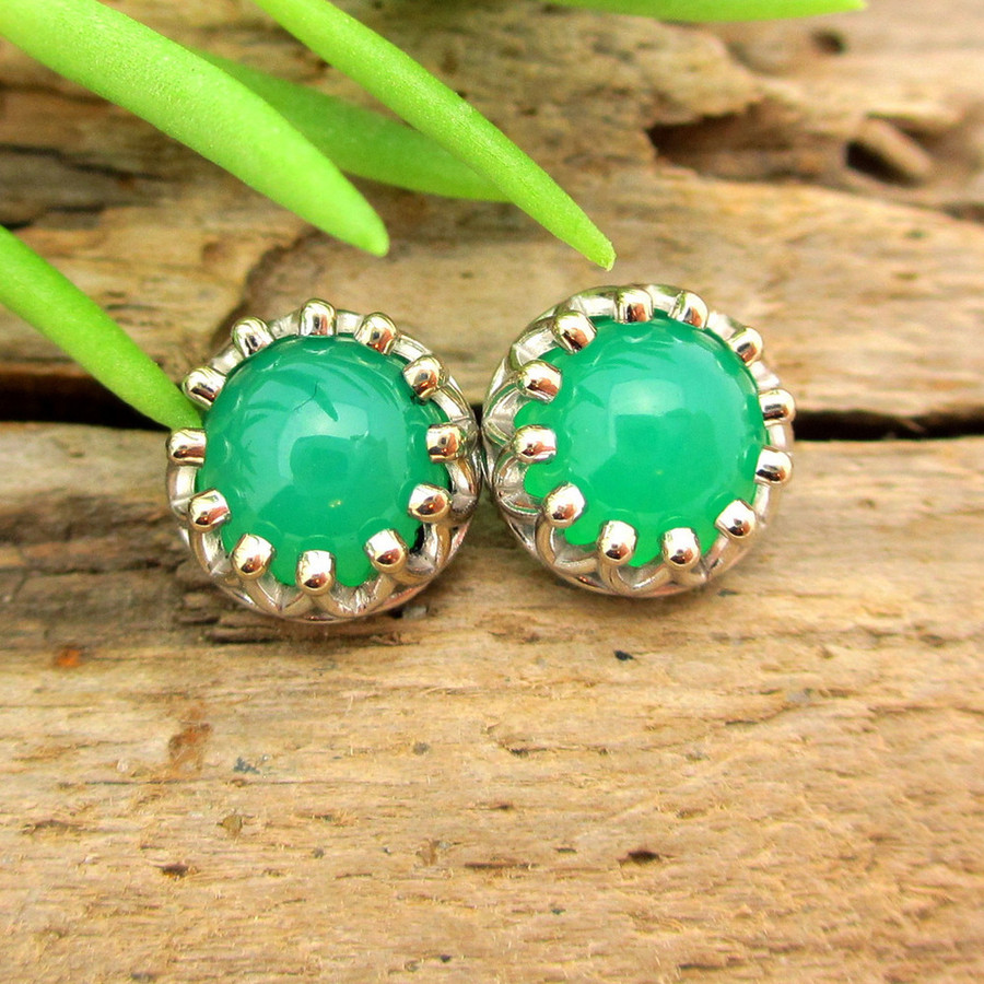 Gem Chrysoprase Cabochon Stud Earrings, Limited Edition