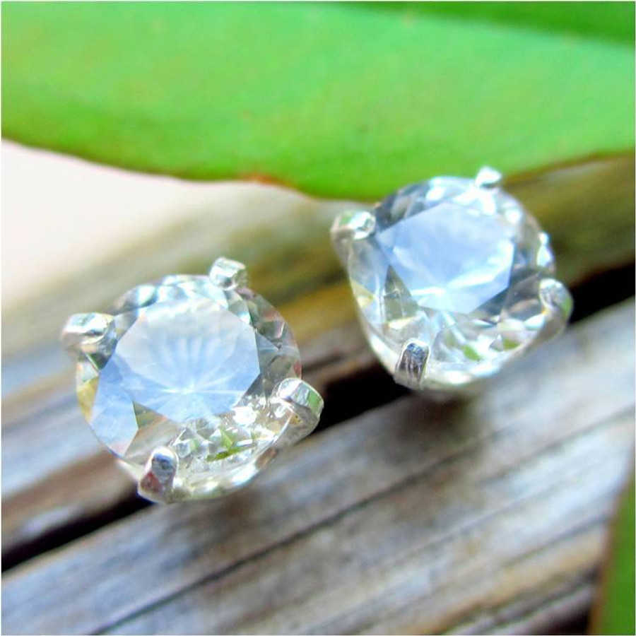 Ghostly Pale Tan Topaz Stud Earrings