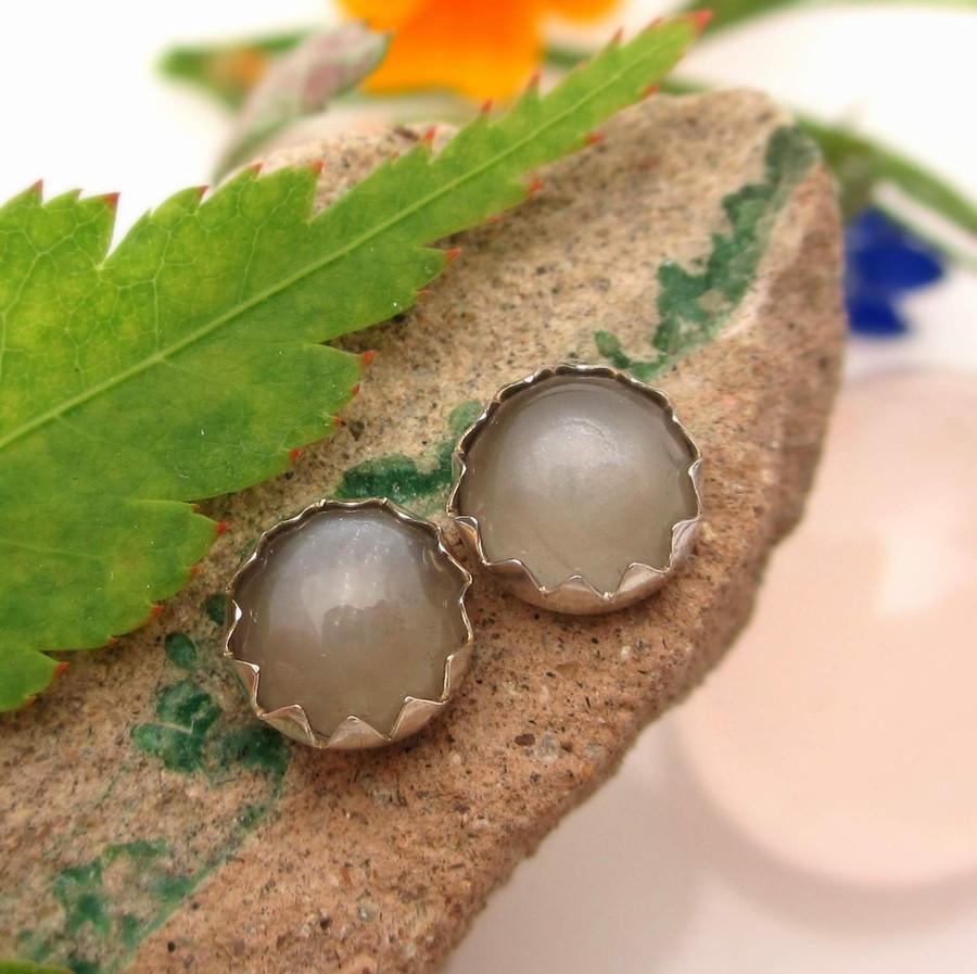Gray moonstone stud earrings in sterling silver