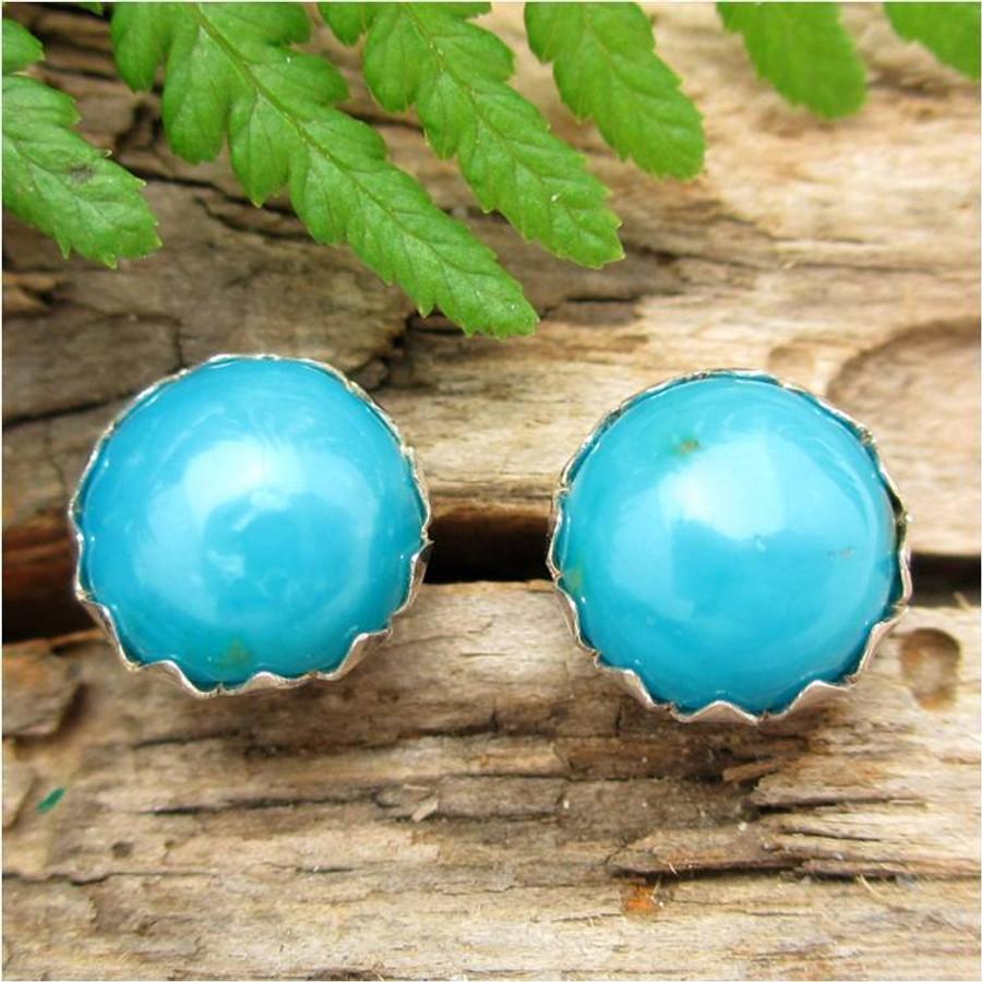 Turquoise Cabochon Stud Earrings   Kingman Arizona