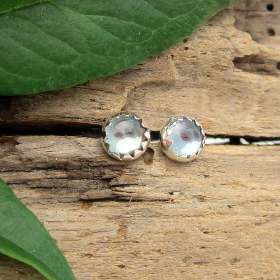 Montana Sapphire Cabochon Stud Earrings