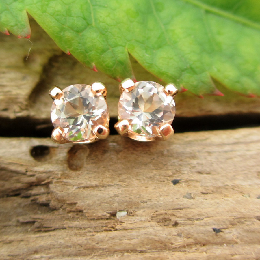 Morganite Stud Earrings   Pale