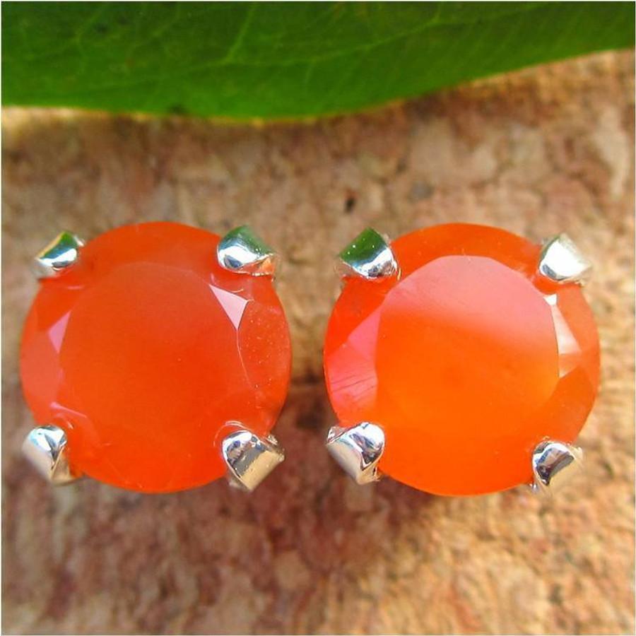 Orange Carnelian Stud Earrings