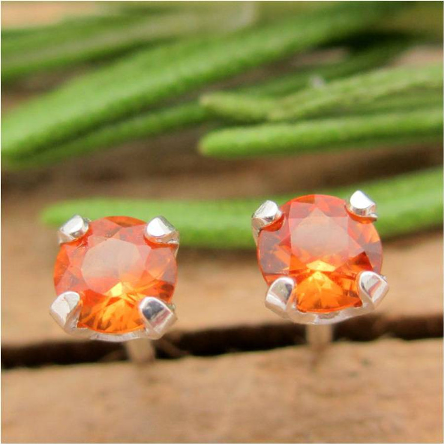 Orange Sapphire Stud Earrings |