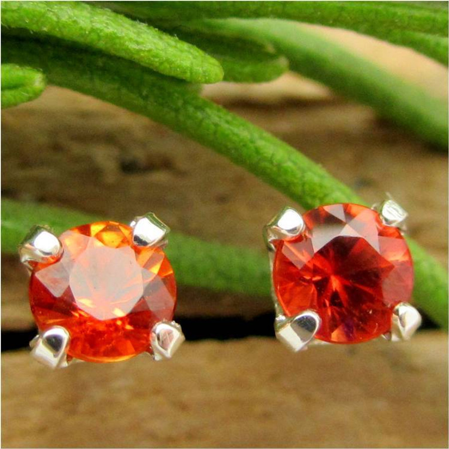 Orange Sapphire Stud Earrings