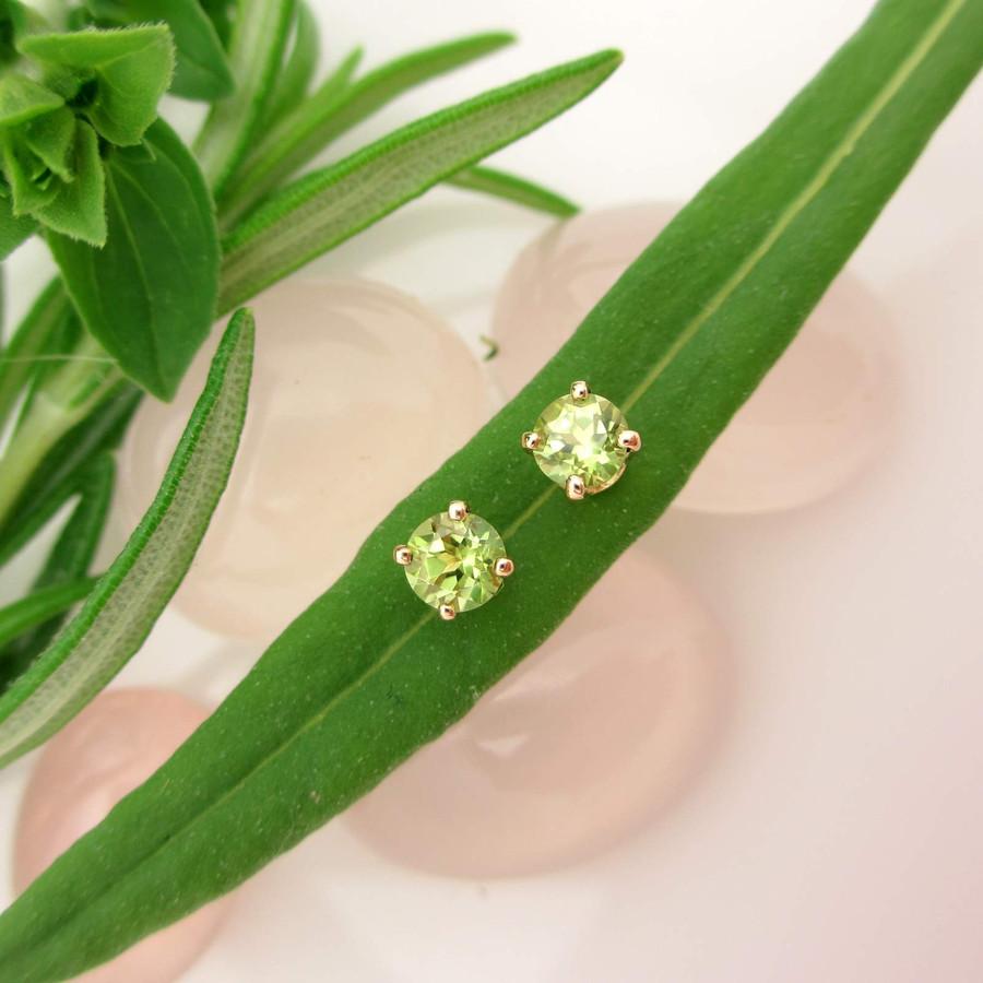 Peridot Stud Earrings in 14k gold