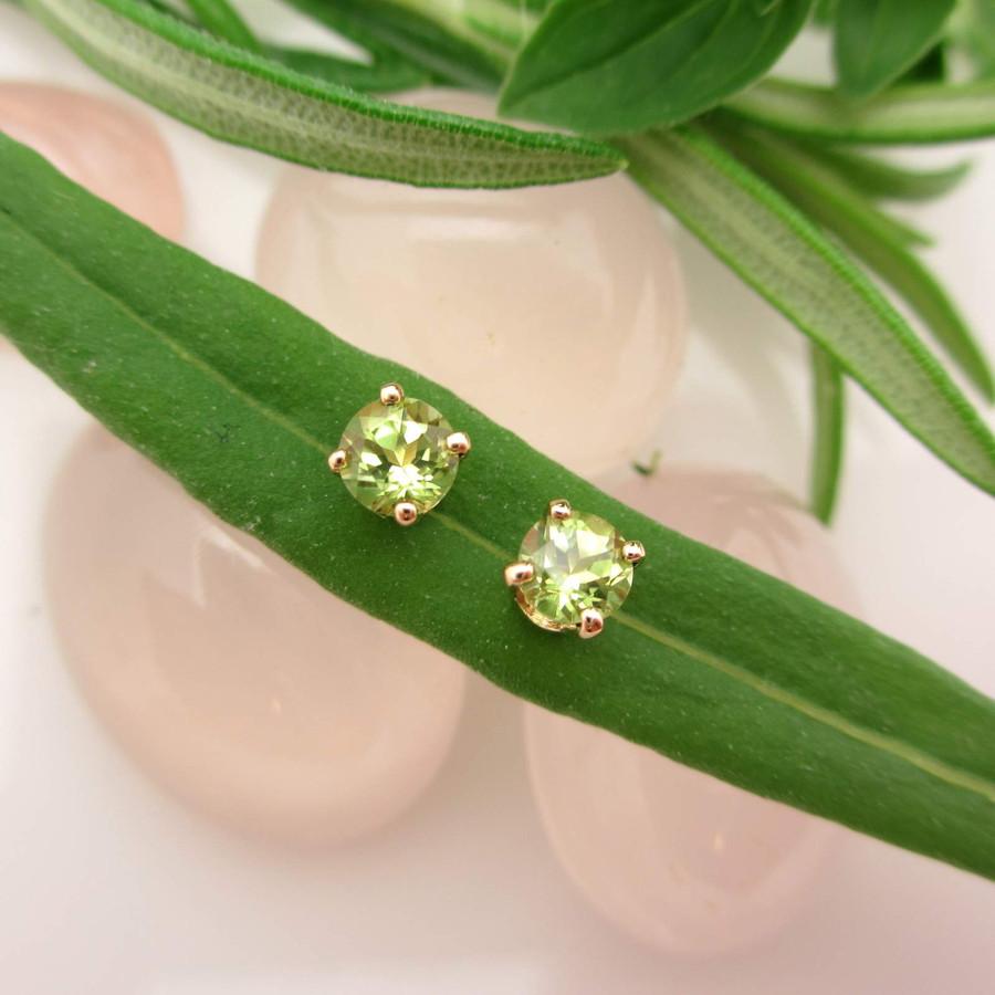 Peridot Stud Earrings in 14k yellow gold