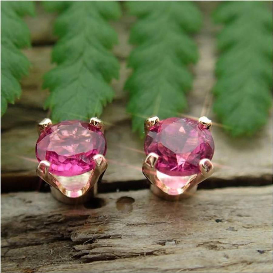 Pink Tourmaline Stud Earrings, Small 4mm Lot 2, Limited Edition