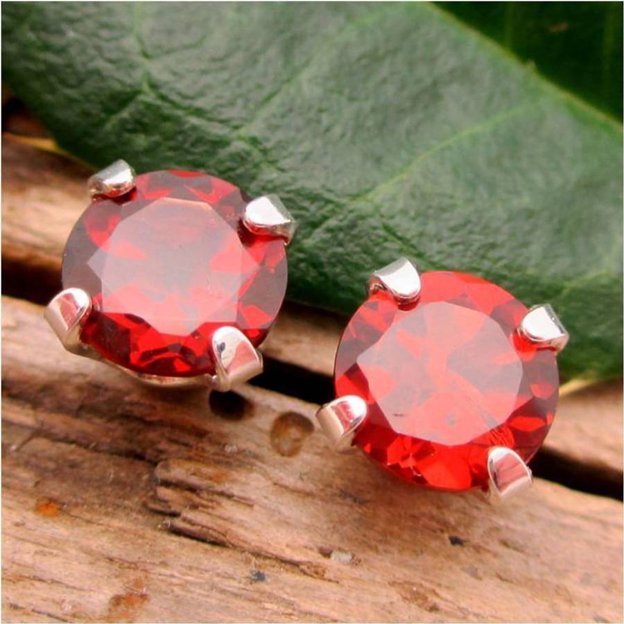 Red Garnet Stud Earrings