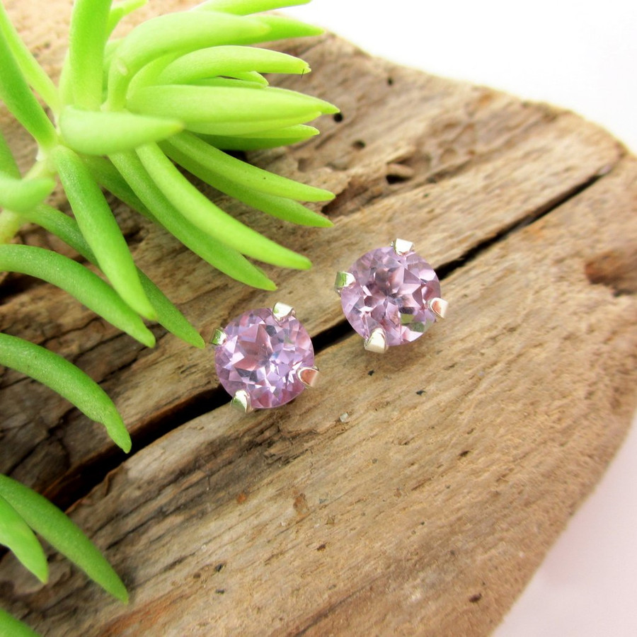 Amethyst stud earrings, lilac Brazilian in sterling silver