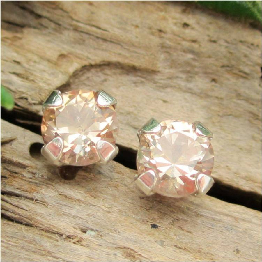 Tan Topaz Stud Earrings, Small 4mm Lot 1