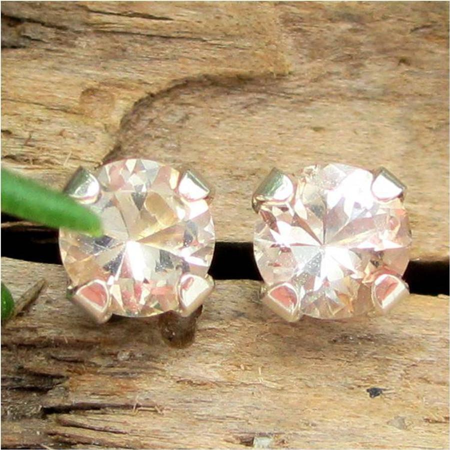 Tan Topaz Stud Earrings, Small 4mm Lot 2