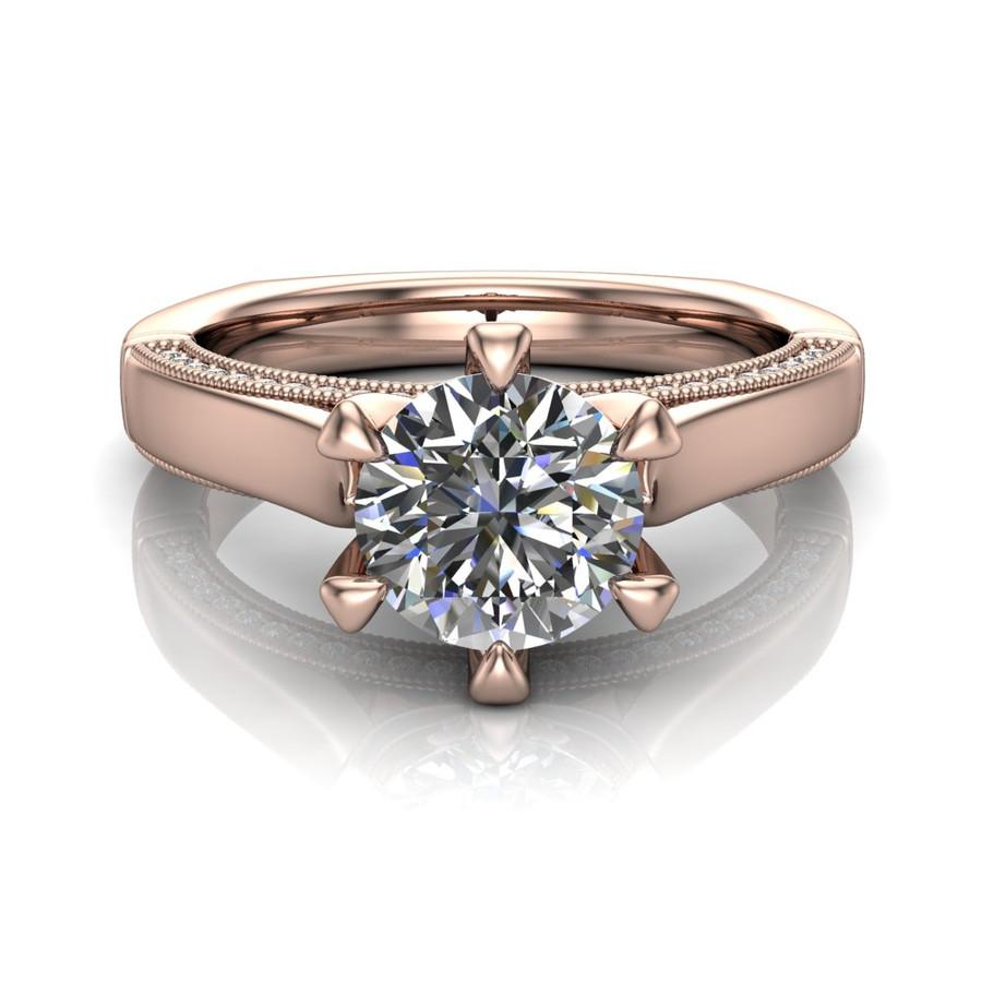 Diamond Engagement Ring | 1 Carat Round | Bold, Modern center view