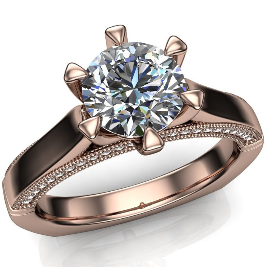 Diamond Engagement Ring | 1 Carat Round | Bold, Modern overhead view