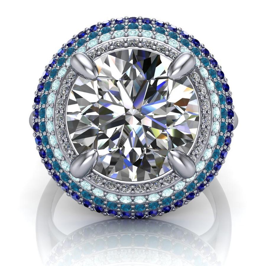 Baja Blue | 4 Carat Diamond Halo Engagement Ring | Round