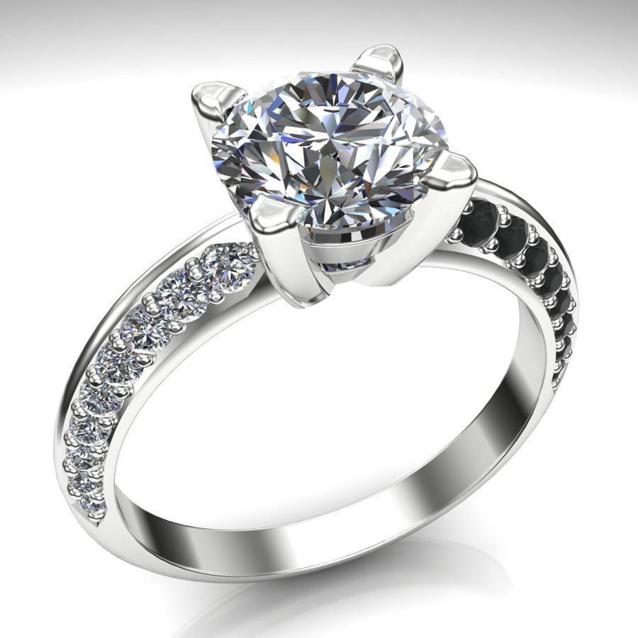 Black Channels Tuxedo Engagement Ring | Round 1.5ct Diamond