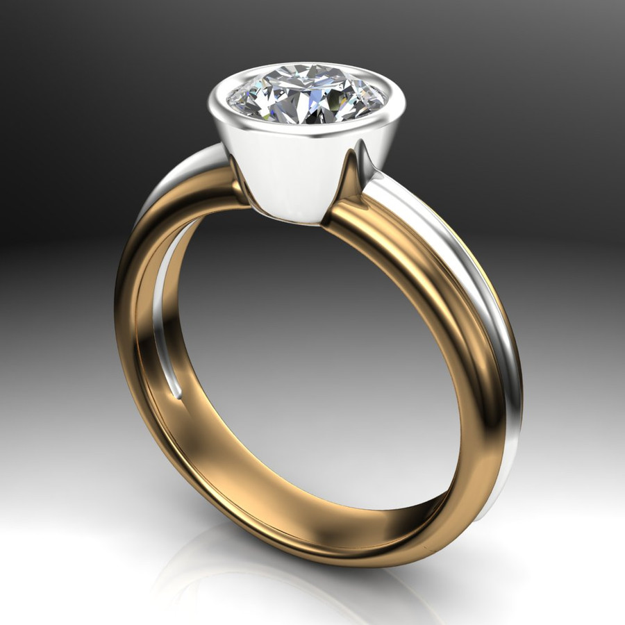 Diamond Engagement Ring, 1 Carat Bezel Set Diamond in Two-Tone Gold Band angled view