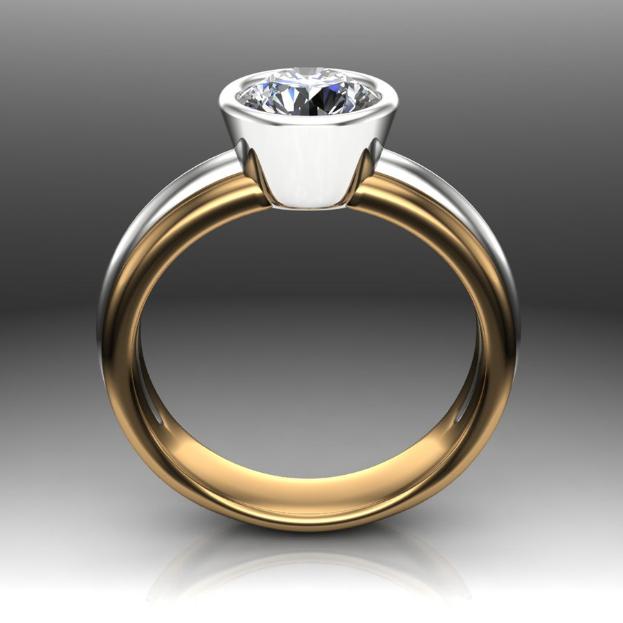 Diamond Engagement Ring, 1 Carat Bezel Set Diamond in Two-Tone Gold Band front view