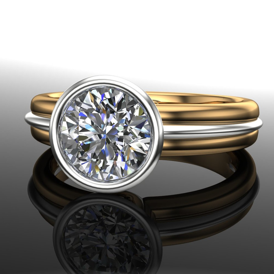 Diamond Engagement Ring, 1 Carat Bezel Set Diamond in Two-Tone Gold Band angled head-on view