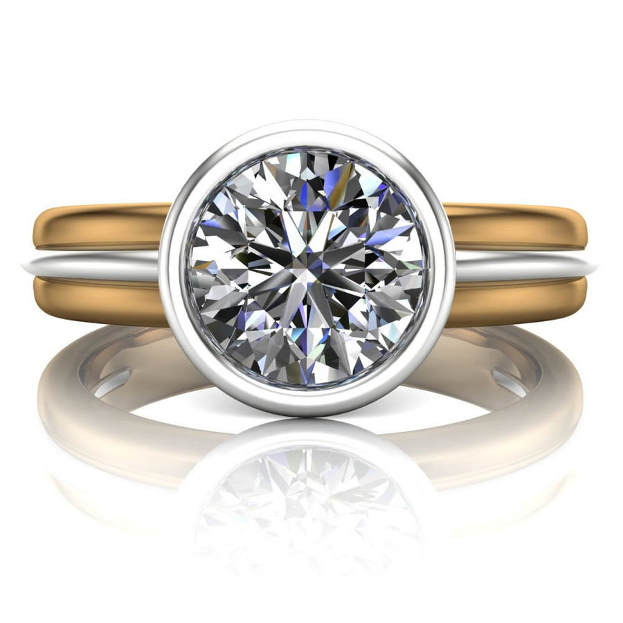 Diamond Engagement Ring, 1 Carat Bezel Set Diamond in Two-Tone Gold Band center view