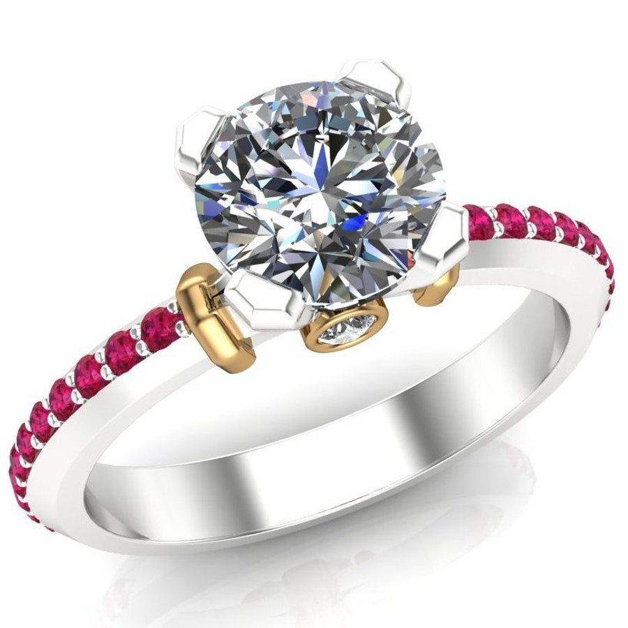 Ruby Accented Engagement Ring   Round 1 Carat Diamond