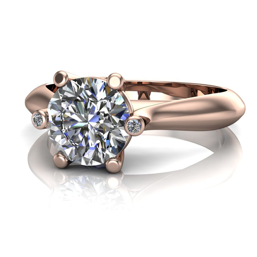 Diamond Engagement Ring, 1 ct Diamond with Blue Sapphires and Diamond Prongs head-on view