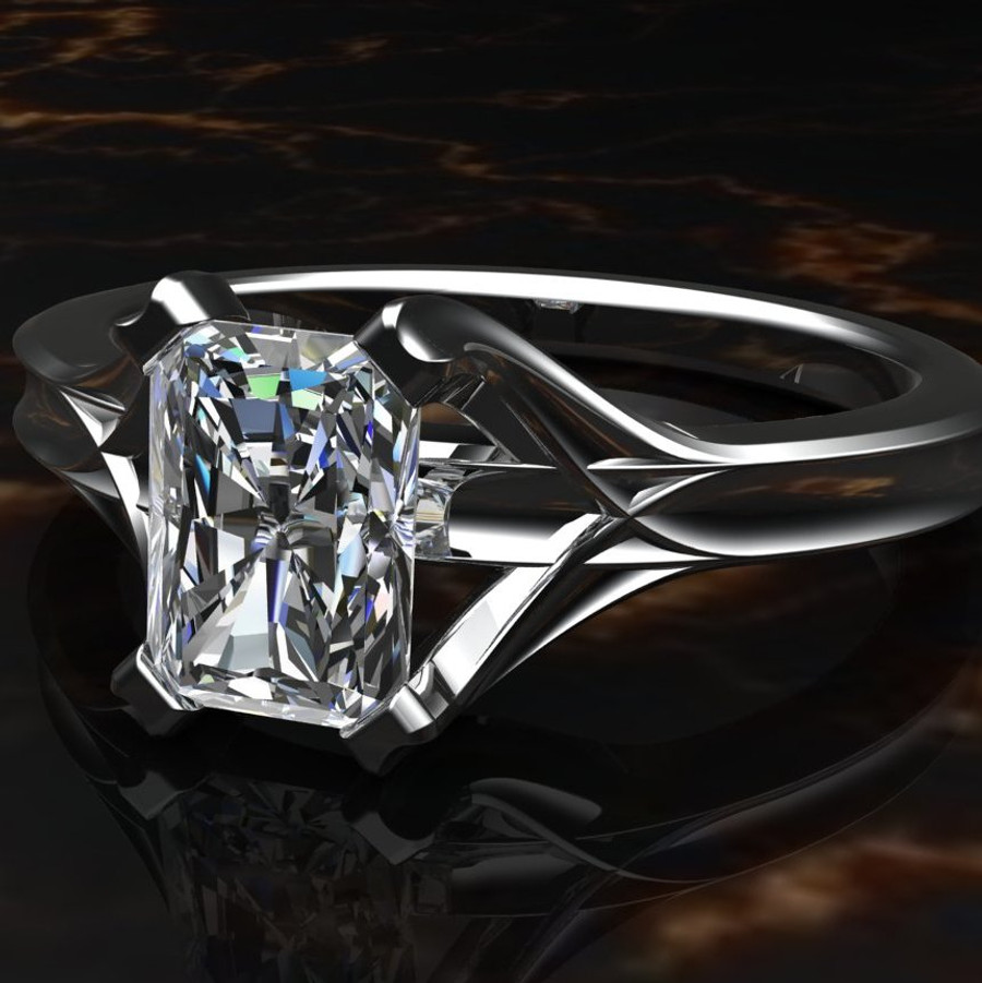 Emerald Cut Diamond Engagement Ring 1ct