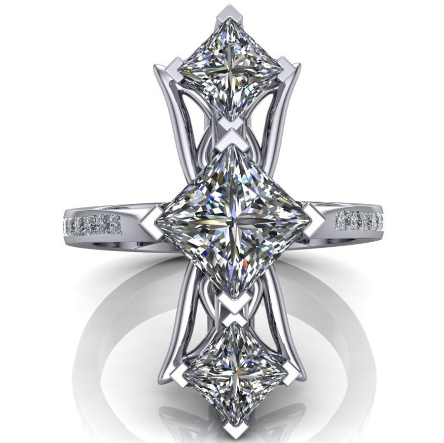 Red Carpet Royalty Art Ring | Princess Cut Diamonds