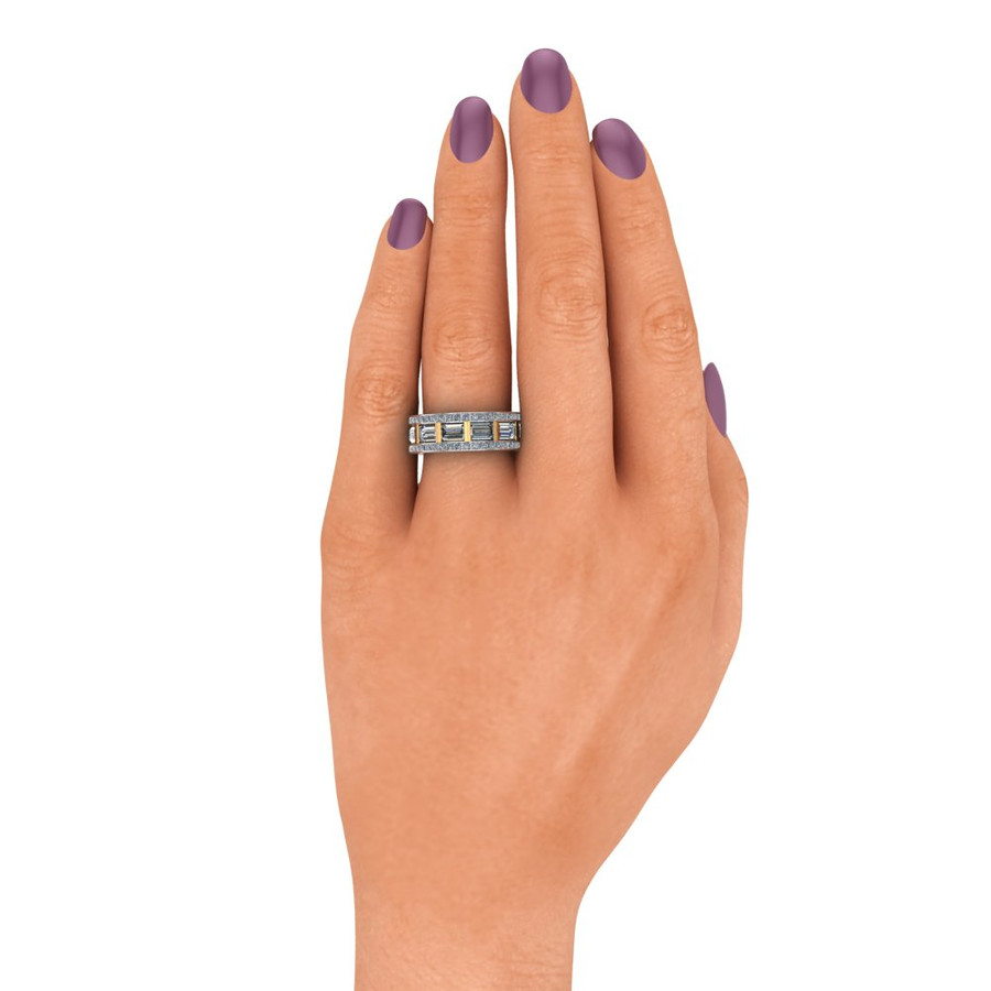 Gay Engagement Ring, Men's Ring with Caged Baguette Diamonds, Two Tone on hand