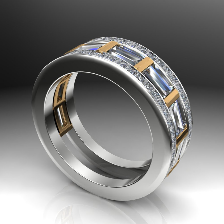 Gay Engagement Ring, Men's Ring with Caged Baguette Diamonds, Two Tone angled view