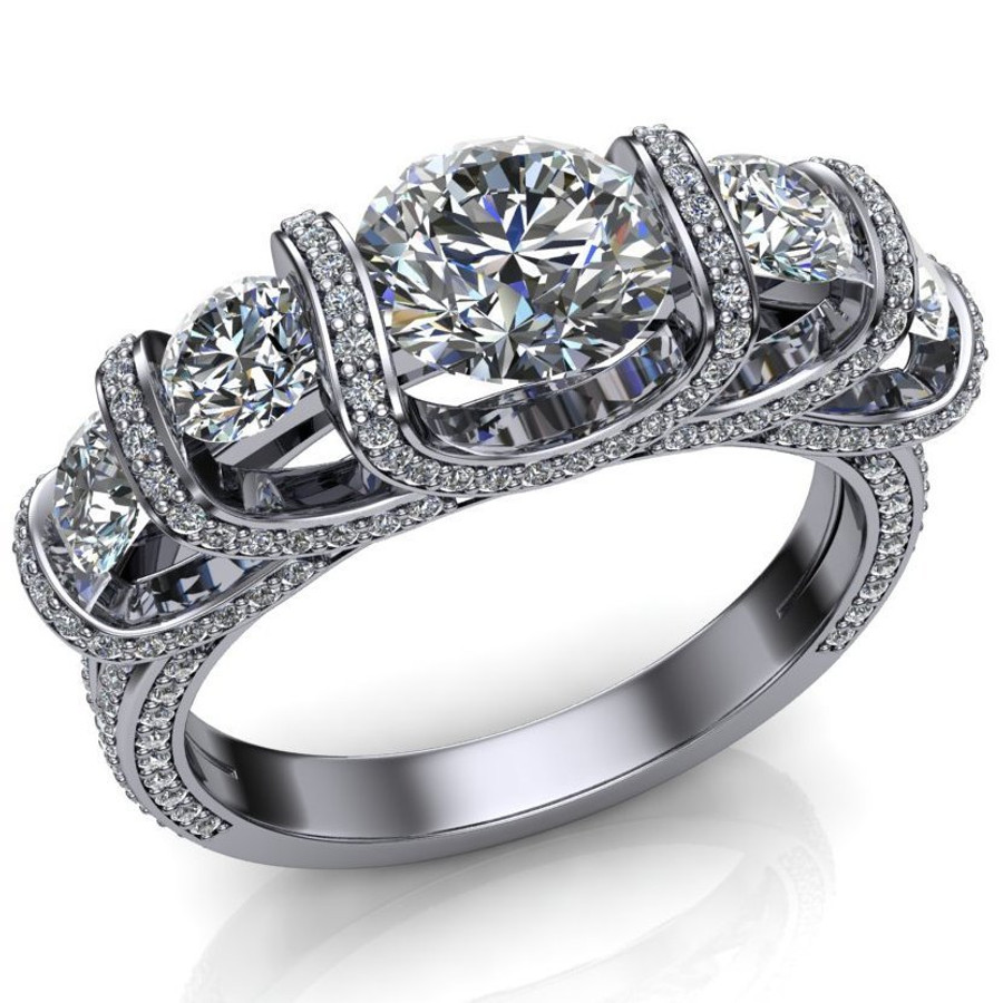 Royalty Five Stone Engagement Ring | Round 2+ Cts Diamonds