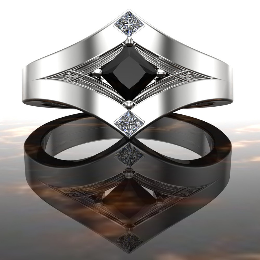 White Collar, Black Tie Engagement Ring | Black Diamond