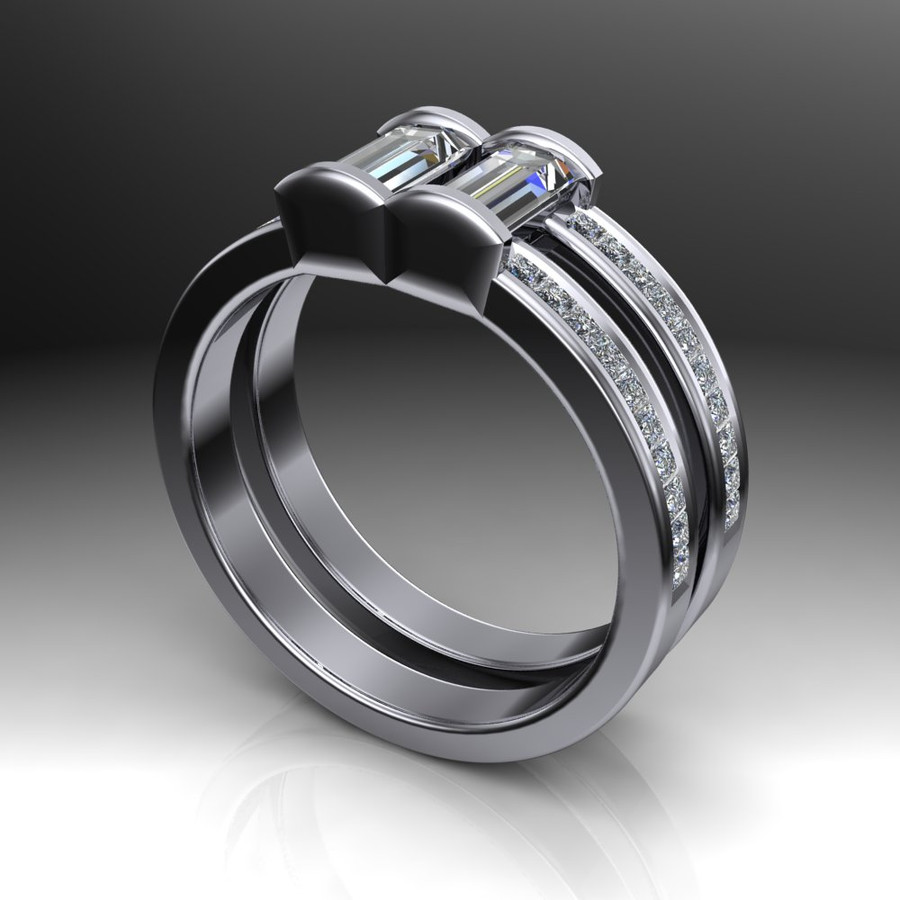 Men's Gay Engagement Ring, Two Stone Diamond Ring Double Band angled view