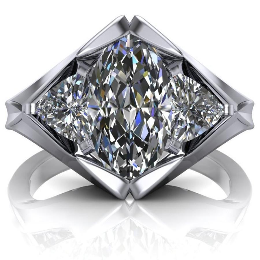 Diamond Peak Engagement Ring   Marquise 1.5ct Moissanite