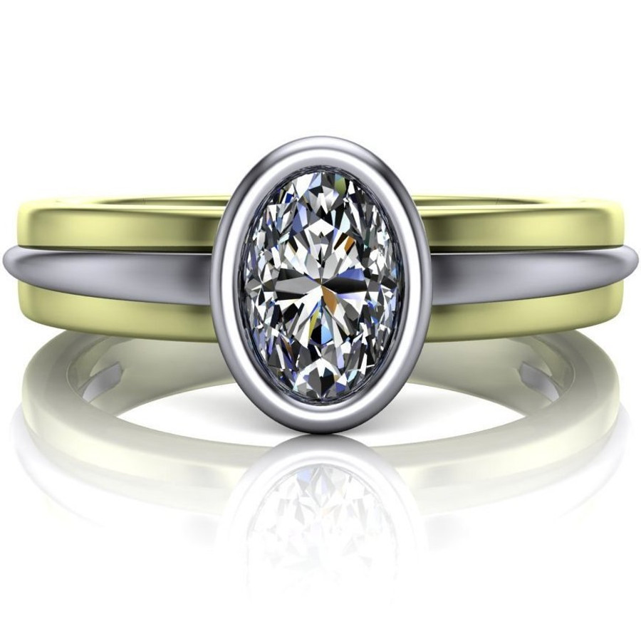 Two Tone Bezel Engagement Ring   Oval 1/3ct Diamond