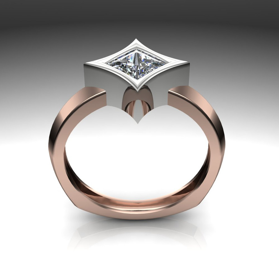 Diamond Engagement Ring | Dramatic Star Bezel Setting front view