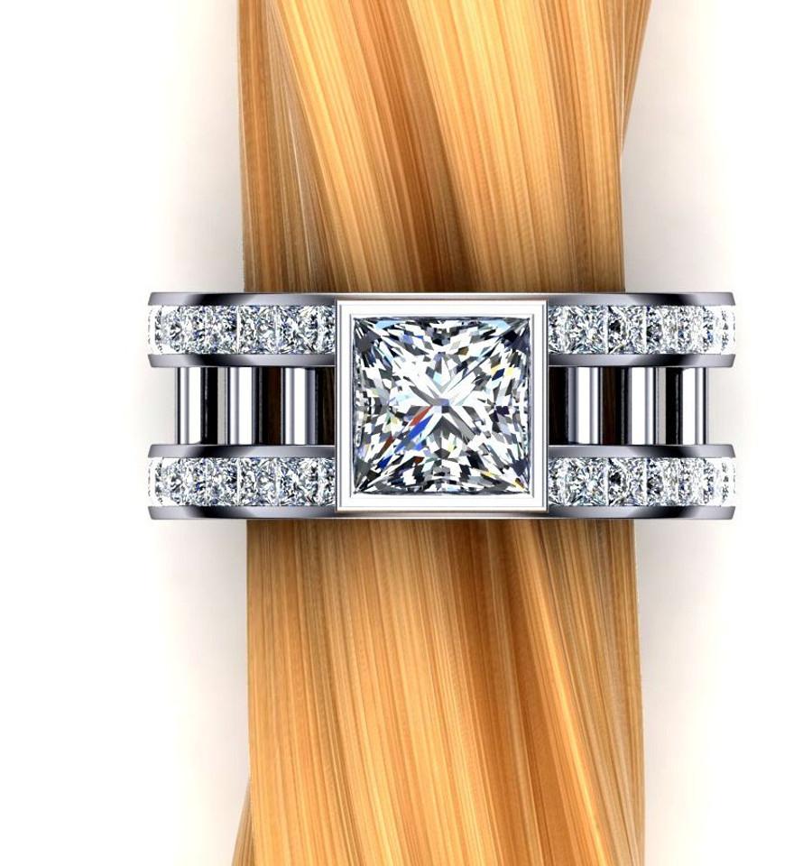 Barred Men's Engagement Ring | Square 2 Carat Diamond