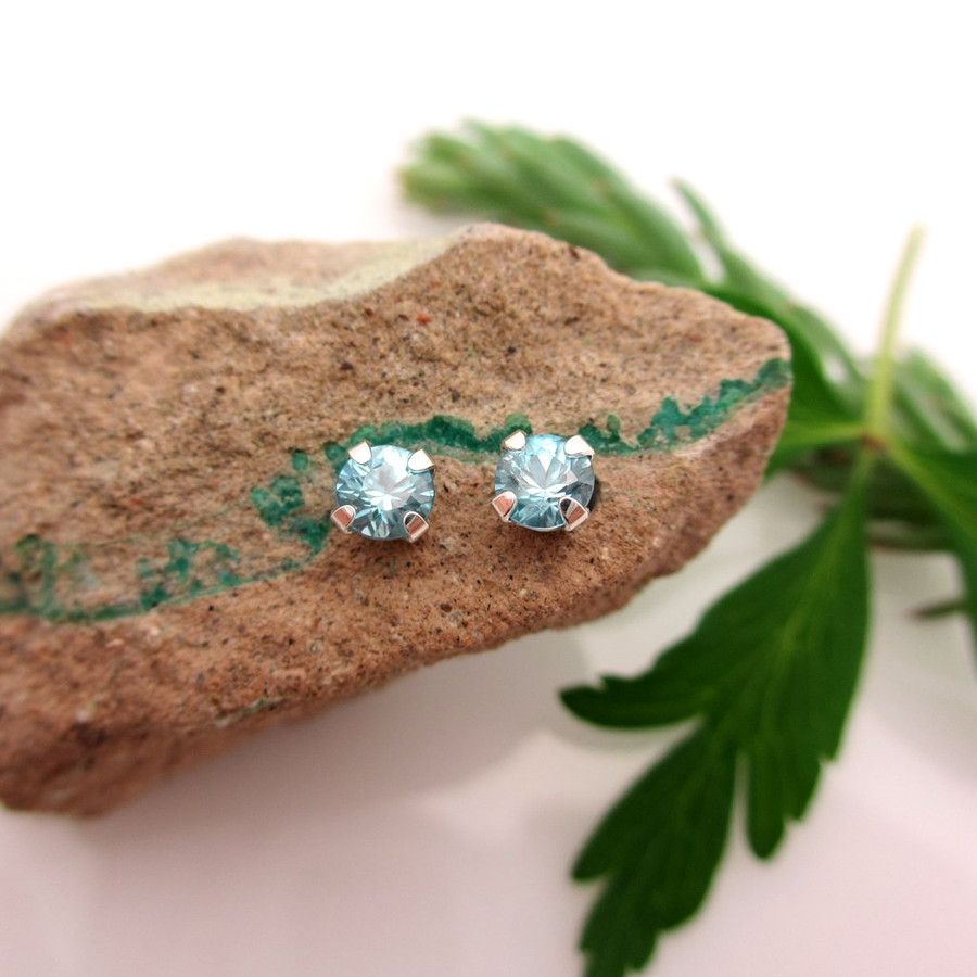 Blue zircon stud earrings