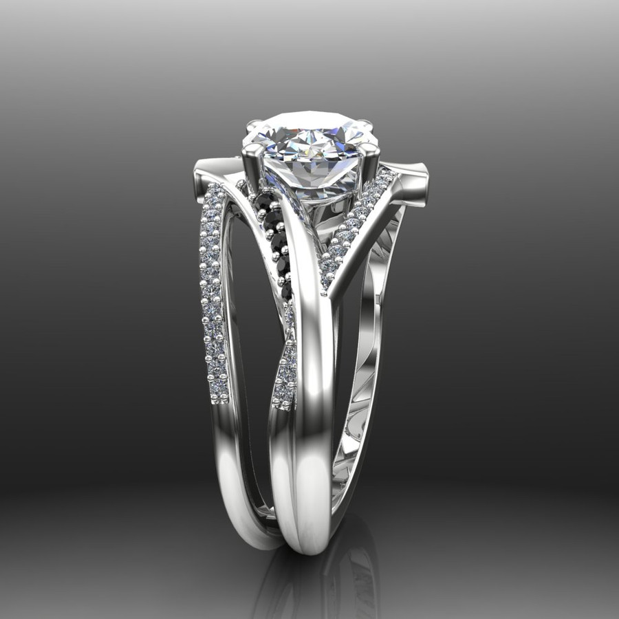 Oval Crisscross Custom Diamond Engagement Ring